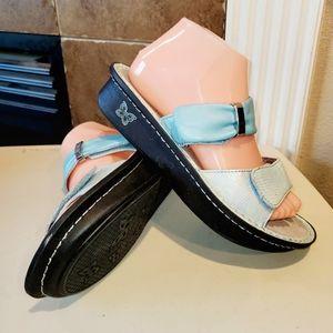 ALEGRIA Karmen Baby Blue Iridescent Wedge Sandals